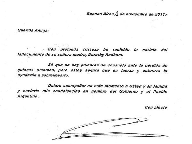 La Presidente Envió Una Carta A Hillary Clinton Por La Muerte De Su