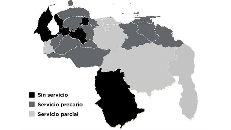 El mapa de la situación eléctrica en Venezuela