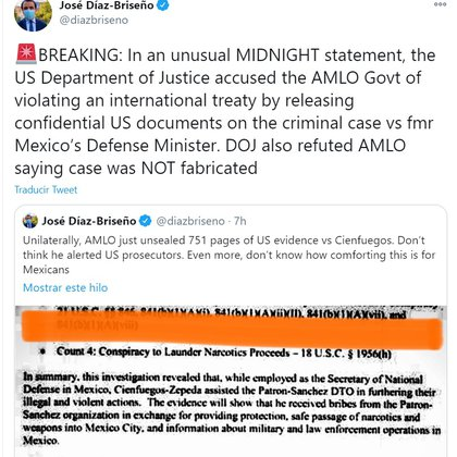 Mexico would have violated bilateral treaties for publishing the Cienfuegos file (Photo: Twitter)