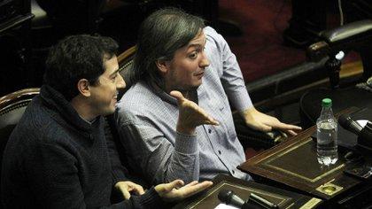 """Máximo Kirchner y el ministro del Interior, Eduardo """"Wado"""" De Pedro, quedaron sobreseídos por el financiamiento de La Cámpora. (DyN)"""