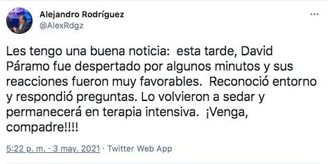 De acuerdo con el comunicador Alejandro Rodríguez, David Páramo reconoció el entorno y respondió preguntas (Foto: Twitter@AlexRdgz)