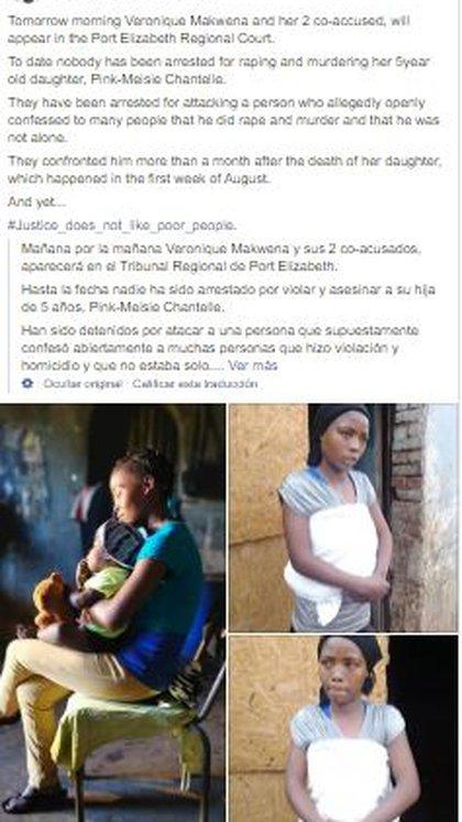 La ONG Project Inmate se encargó de publicar un mensaje y fotografías de apoyo para la madre de la víctima. (Foto: Facebook)