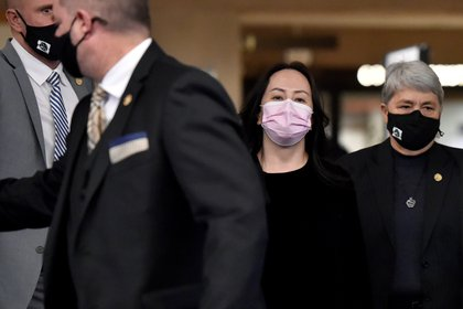 Meng Wanzhou, leaving a court in Vancuver