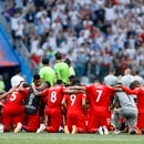 Players of Panama kneel embraced after their 1-6 lost against England in a group G match at the 2018 soccer World Cup at the Nizhny Novgorod Stadium in Nizhny Novgorod , Russia, Sunday, June 24, 2018. (AP Photo/Victor Caivano)