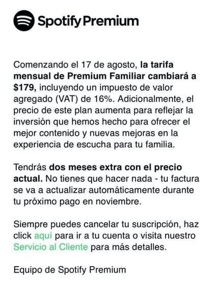 Mediante un correo electrónico, Spotify comunicó a sus suscriptores el aumento de tarifas (Foto: Spotify México)
