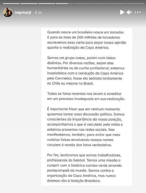 Neymar comunicado ratifica que Brasil jugará la Copa América