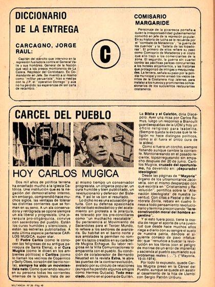 Amenaza contra Carlos Mugica aparecida en la revista Militancia.