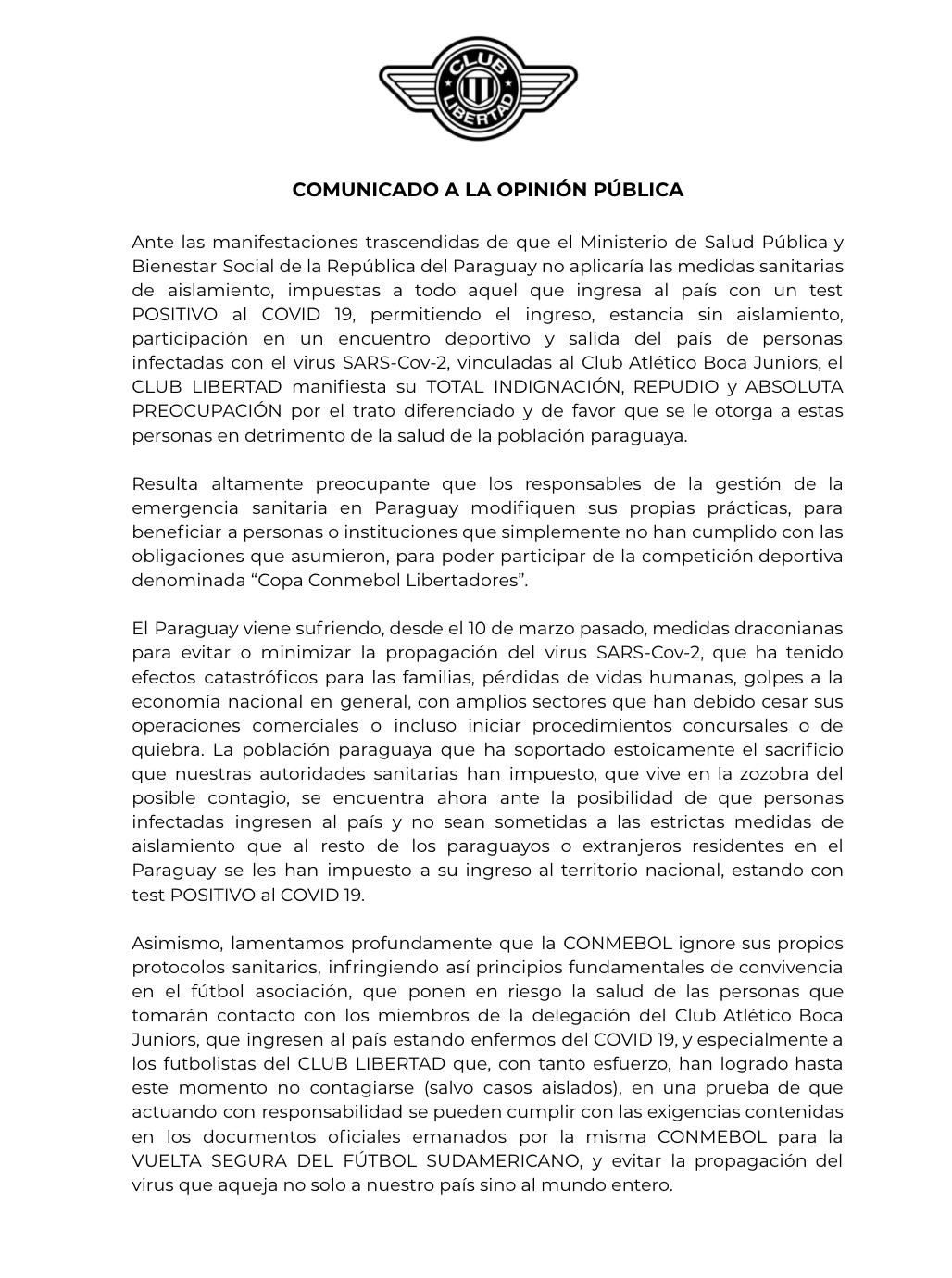 comunicado Libertad