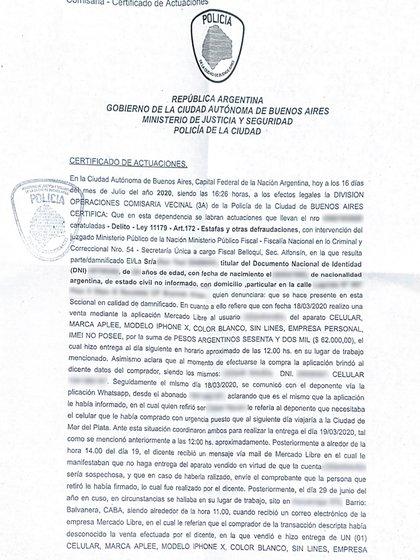 La denuncia policial que radicó Dan en la Comisaría Vecinal 3A