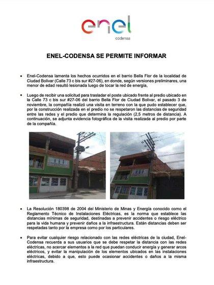 Comunicado Enel Codensa sobre accidente de niña electrocutada / (Enel Codensa).