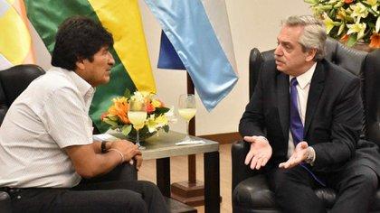 Alberto Fernández y Evo Morales durante un encuentro en Bolivia