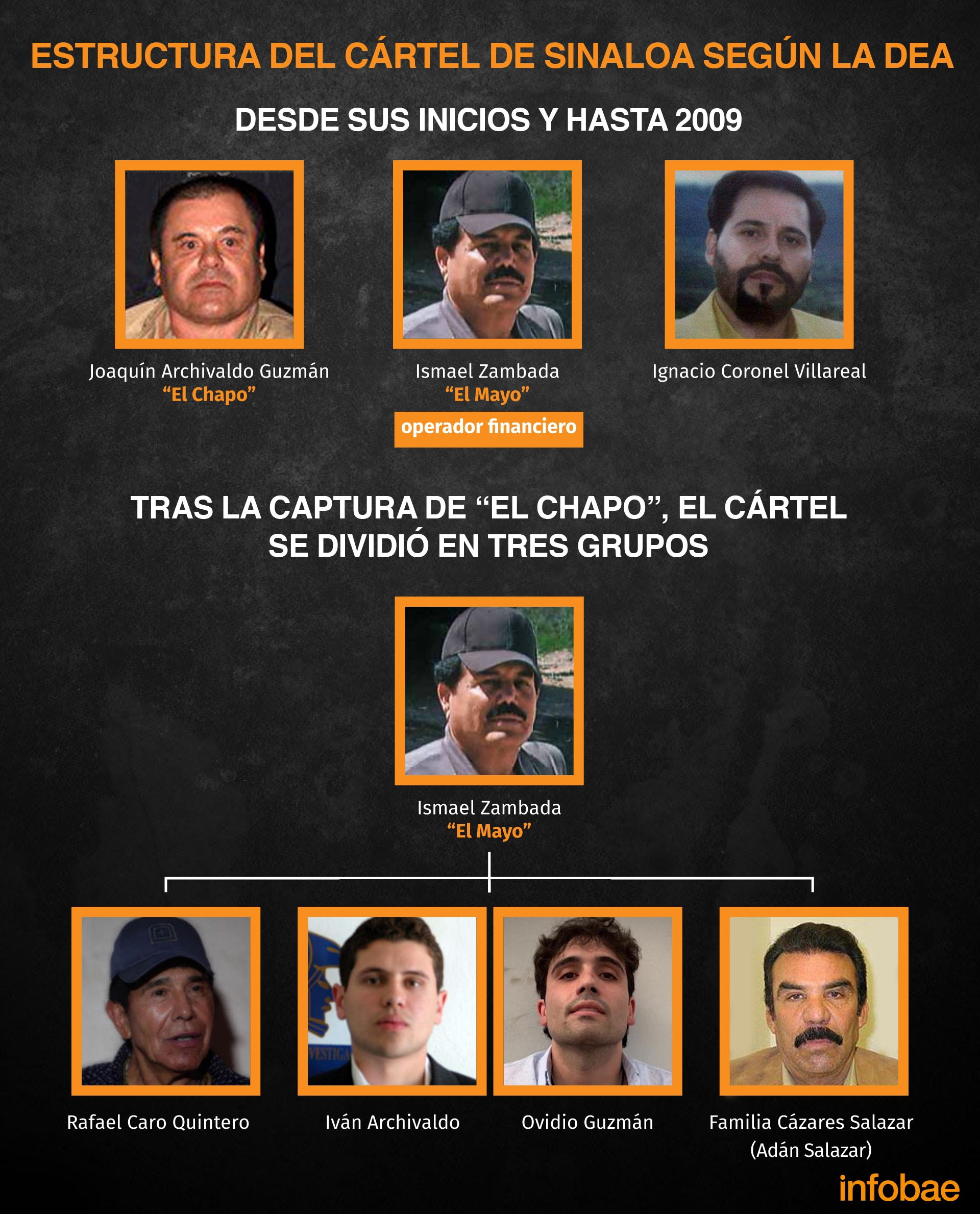 La estructura del Cártel de Sinaloa, según la DEA (Imagen: Gil Jovani Pérez Silva/ Infobae México)