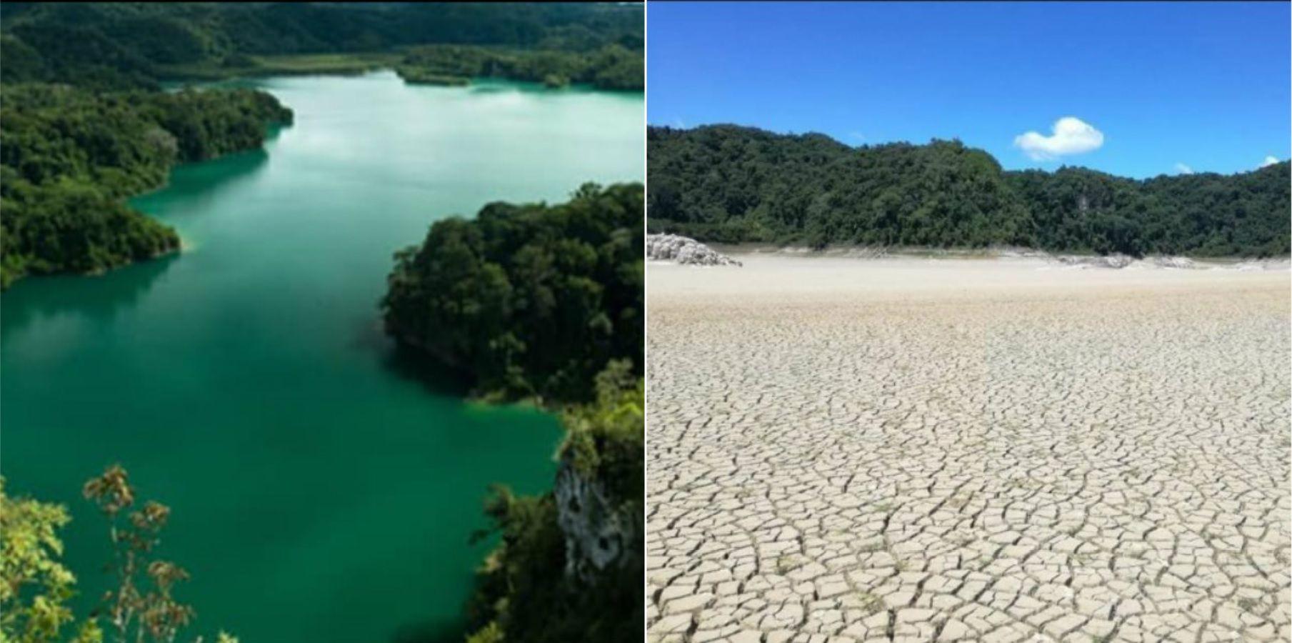 Metzabok antes y después de la atípica sequía Foto: Facebook Damián Sánchez