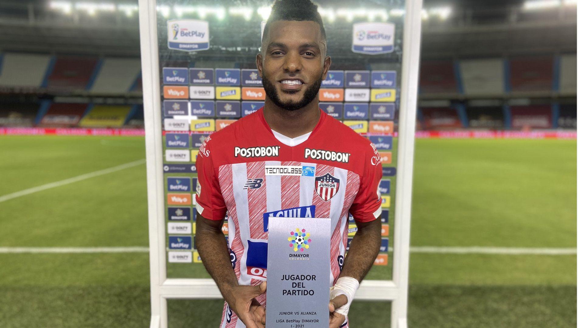 Miguel Borja, que anotó en el minuto 72, fue el jugador del partido entre Junior y Alianza Petrolera. Foto: Tomada de la cuenta de Twitter de Junior.