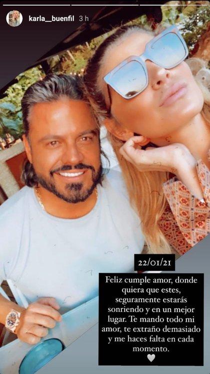 Buenfil compartió una fotografía de ambos y la acompañó del emotivo mensaje (Foto: Instagram@/karla__buenfil)