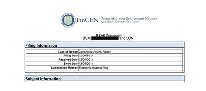 Carátula de uno de los Reportes de Operaciones Sospechosas (SAR) emitidos por la Fincen con información confidencial a los que tuvo acceso Infobae.