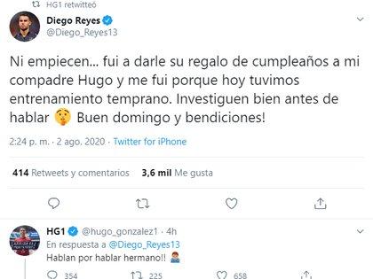 Diego Reyes aclaró sólo fue a darle un regalo a su compañero de selección (Foto: Twitter/ @Diego_Reyes13)