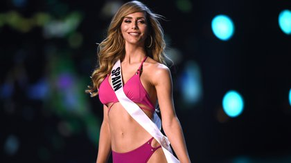 Angela Ponce of Spain competes in the swimsuit competition during the 2018 Miss Universe pageant in Bangkok on December 13, 2018. (Photo by Lillian SUWANRUMPHA / AFP)