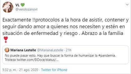 El tuit de Veronica Lozano, en respuesta Mariana Lestelle