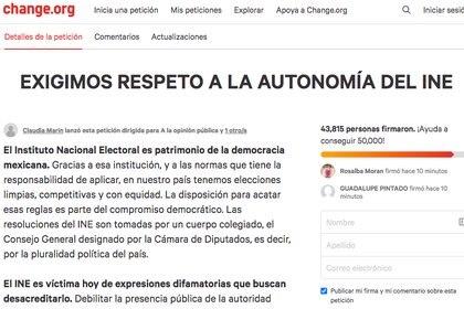 (Captura de pantalla: Change.org)