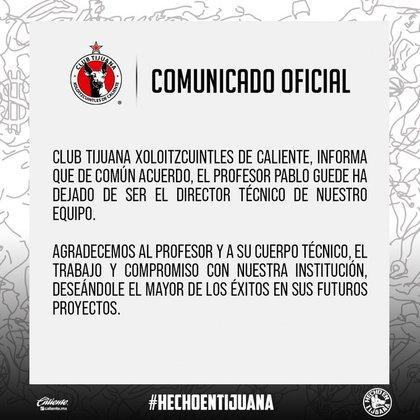 A través de sus redes sociales, la entidad tijuanense dio las gracias al entrenador  (Foto: Twitter/@Xolos)