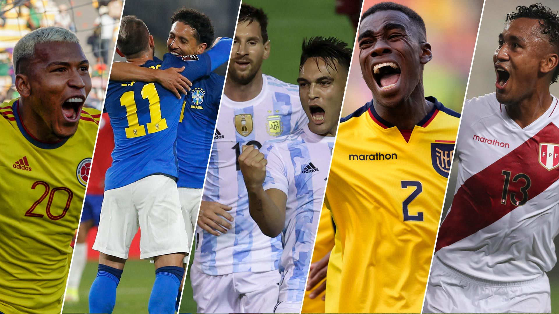 Eliminatorias Qatar 2022 / portada Colombia, brasil, argentina, ecuador, peru 1920