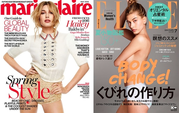 Top covers for Hailey.  Marie Claire Italy, May 2016 and Elle Japan, July 2017