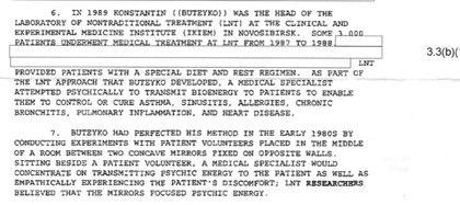 El memo de la CIA desclasificado por pedido de Black Vault reveló que durante la década de 1980 dos científicos soviéticos, Konstantin Buteyko y Vlail Kaznacheev, realizaron una serie de experimentos en busca de armas psíquicas