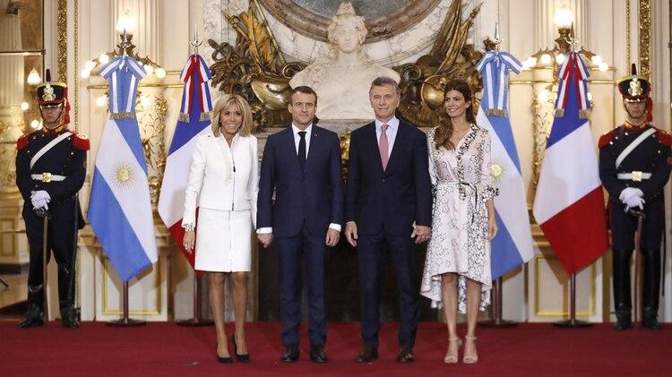 Brigitte y Emmanuel Macron junto a Mauricio Macri y Juliana Awada en la recepción en Casa Rosada
