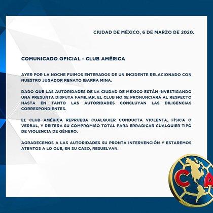 Esta fue la respuesta del club en torno a las denuncias que pesan sobre el futbolista (Foto: Twitter/ @ClubAmerica)