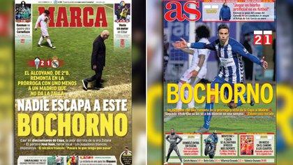 """La prensa deportiva de Madrid calificó como """"bochorno"""" la eliminación del Real Madrid ante Alcoyano."""