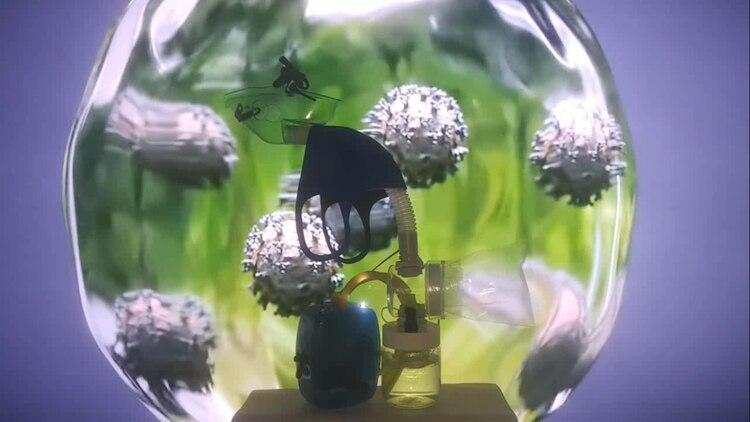 El aparato utiliza agua, una solución química inocua y aire forzado a fin de desactivar virus y patógenos presentes en el aire (E. Pawelko)