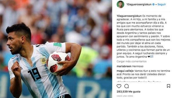 El posteo del Kun en Instagram, sus agradecimientos y sus mensajes tácitos