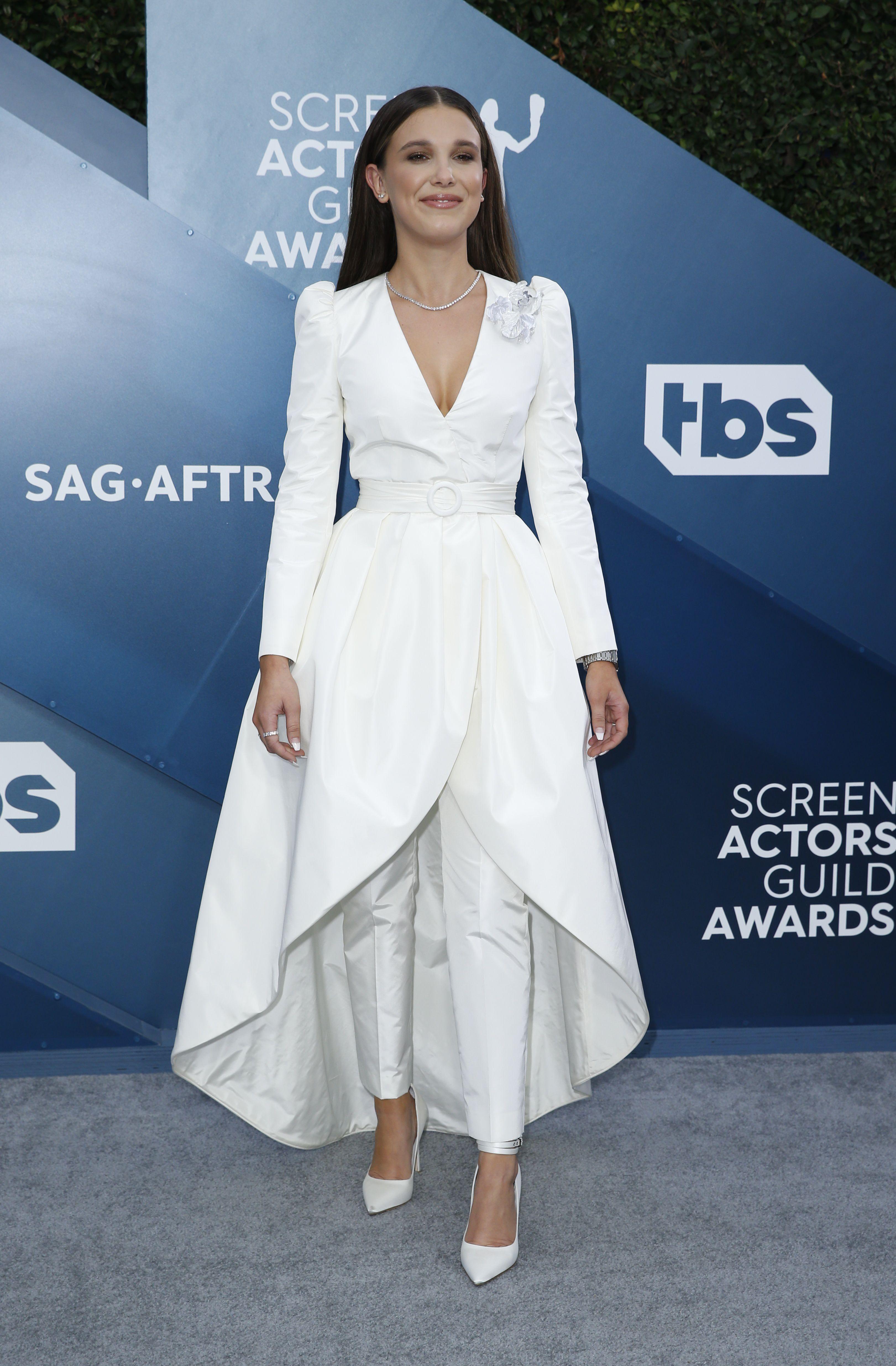 Millie Bobby Brown en los Screen Actors Guild Awards, en enero de 2020 (Crédito: Monica Almeida / Reuters)
