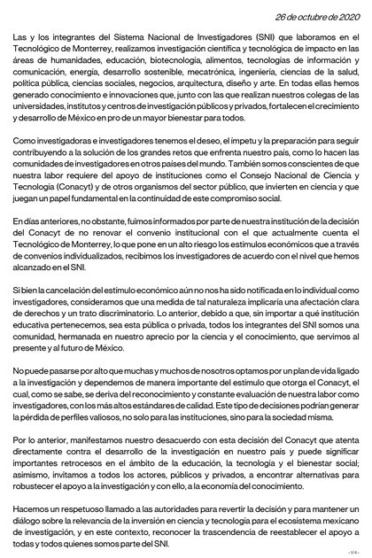 A través de un comunicado, la comunidad científica del Tec de Monterrey hizo un llamado a las autoridades a no retirar los apoyos otorgados por el Conacyt (Foto: Twitter/@TecdeMonterrey)