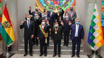 Alberto Fernández durante la asunción de Luis Arce en Bolivia