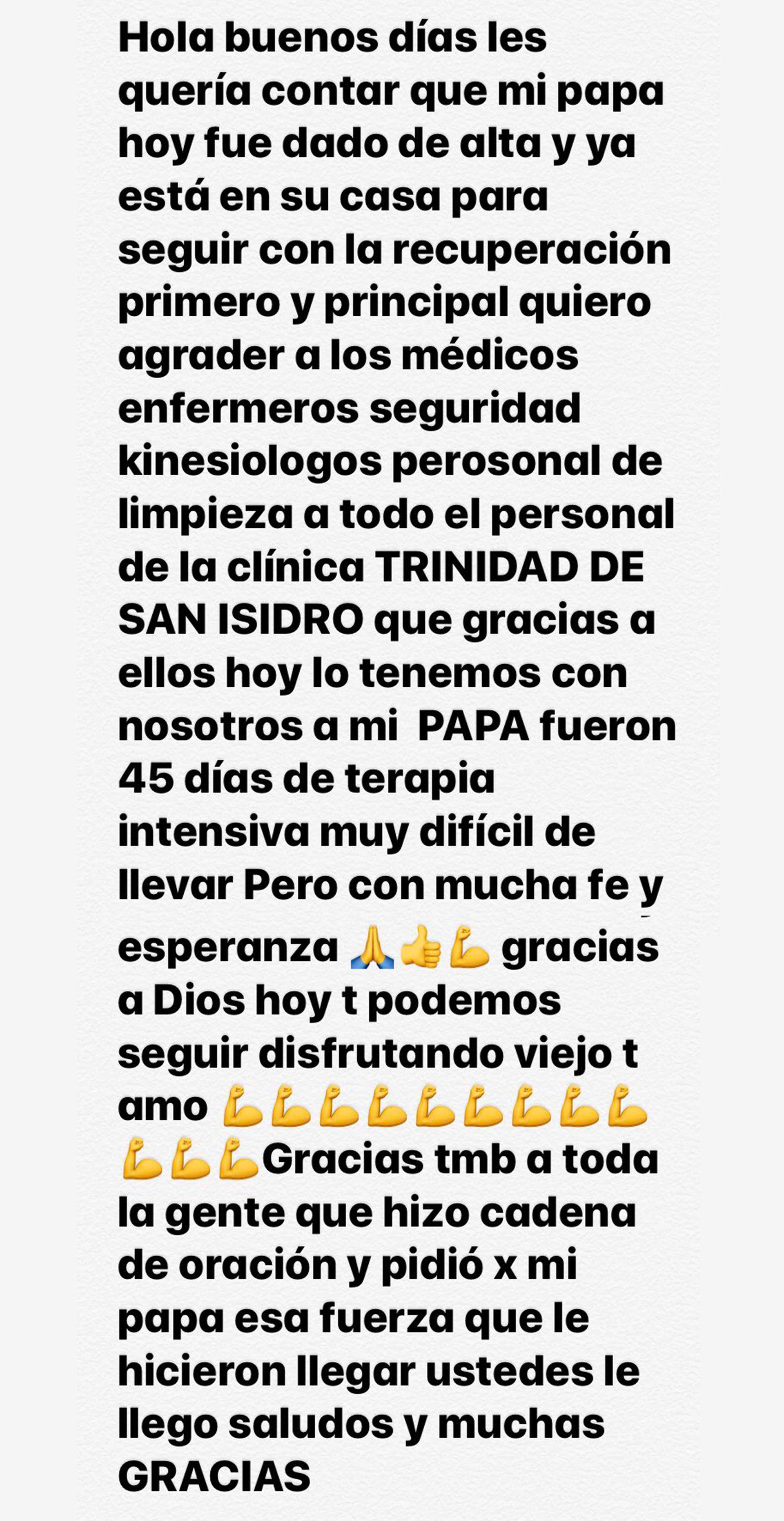 Comunicado hermano de Carlos Tevez por el alta de su padre