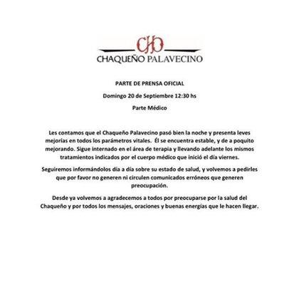 Parte médico del Chaqueño Palavecino difundido hoy (Foto: Instagram)