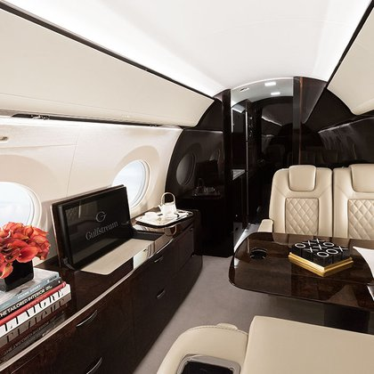The distinguished interior of the Gulfstream V model
