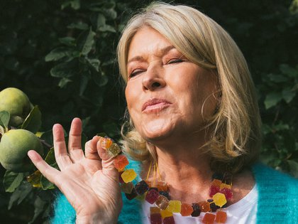 "**EMBARGO: No electronic distribution, Web posting or street sales before THURSDAY 3:01 A.M. ET SEPT. 17, 2020. No exceptions for any reasons. EMBARGO set by source.** Martha Stewart, who is putting her name behind a new line of CBD products, wears a homemade necklace of CBD pâte de fruit, in Katonah, N.Y., Sept. 15, 2020. ""I pop 20 of them and just feel OK,"" she said, ""but some of my friends do two and feel high."" (Celeste Sloman/The New York Times)"