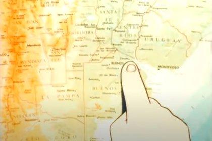 El mapa de nuestro país, recorrido por el niño en la adaptación japonesa del relato de Edmundo D'Amicis en su libro Corazón