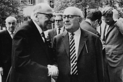 Max Horkheimer y Theodor Adorno en Heidelberg, 1964