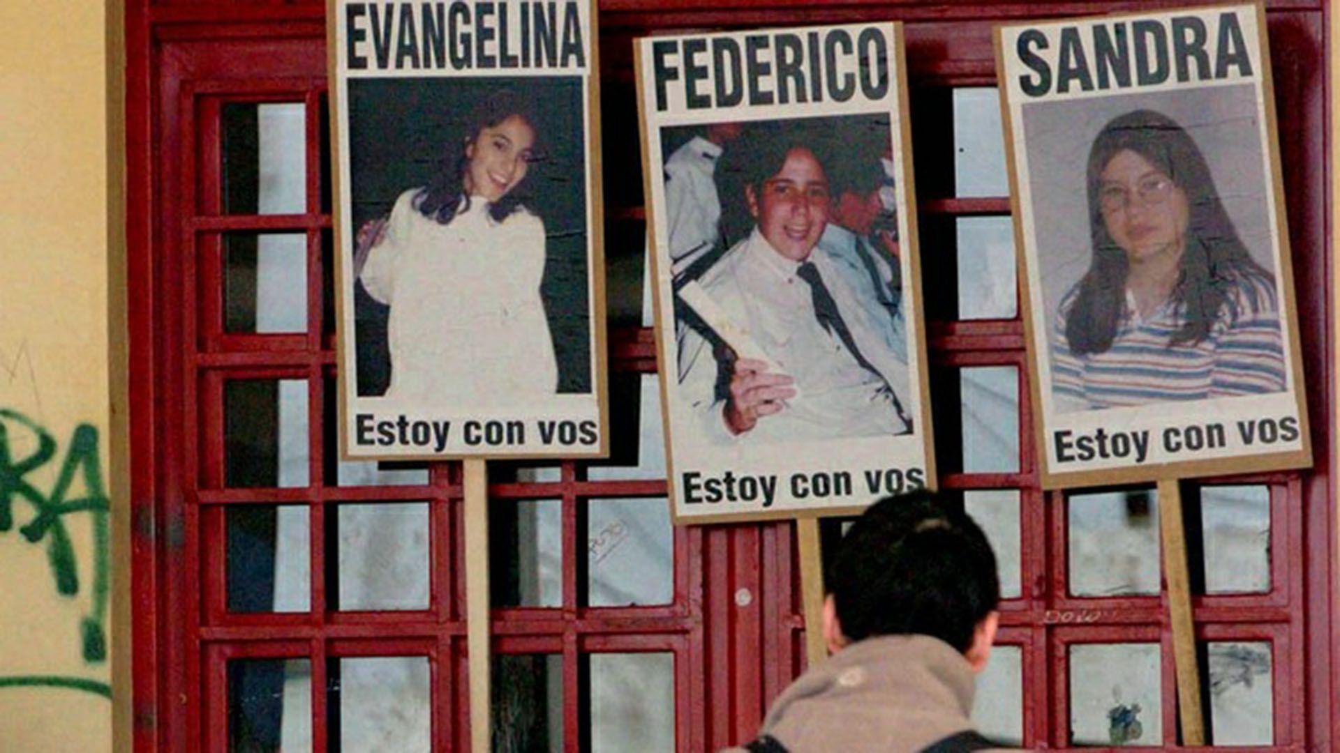 Evangelina, Federico y Sandra, las tres víctimas (Telam)