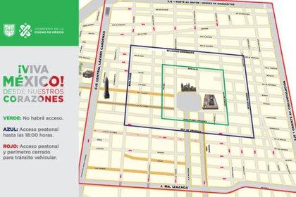 Durante esta semana se establecerán algunas restricciones al acceso en el Centro Histórico de la Ciudad de México, debido a los próximos festejos patrios. (Gráfico: Gobierno CDMX)