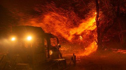 Incendio de Kincade cerca de Geyserville, California. (AFP)