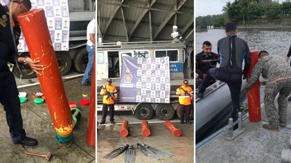 Buzos de la Armada encontraron tres cilindros de PVC donde estaba camuflada la cocaína. (Foto revista Semana)