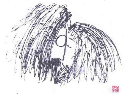 El trazo de lápiz grueso o a veces bolígrafo eran características de los dibujos de John Lennon.