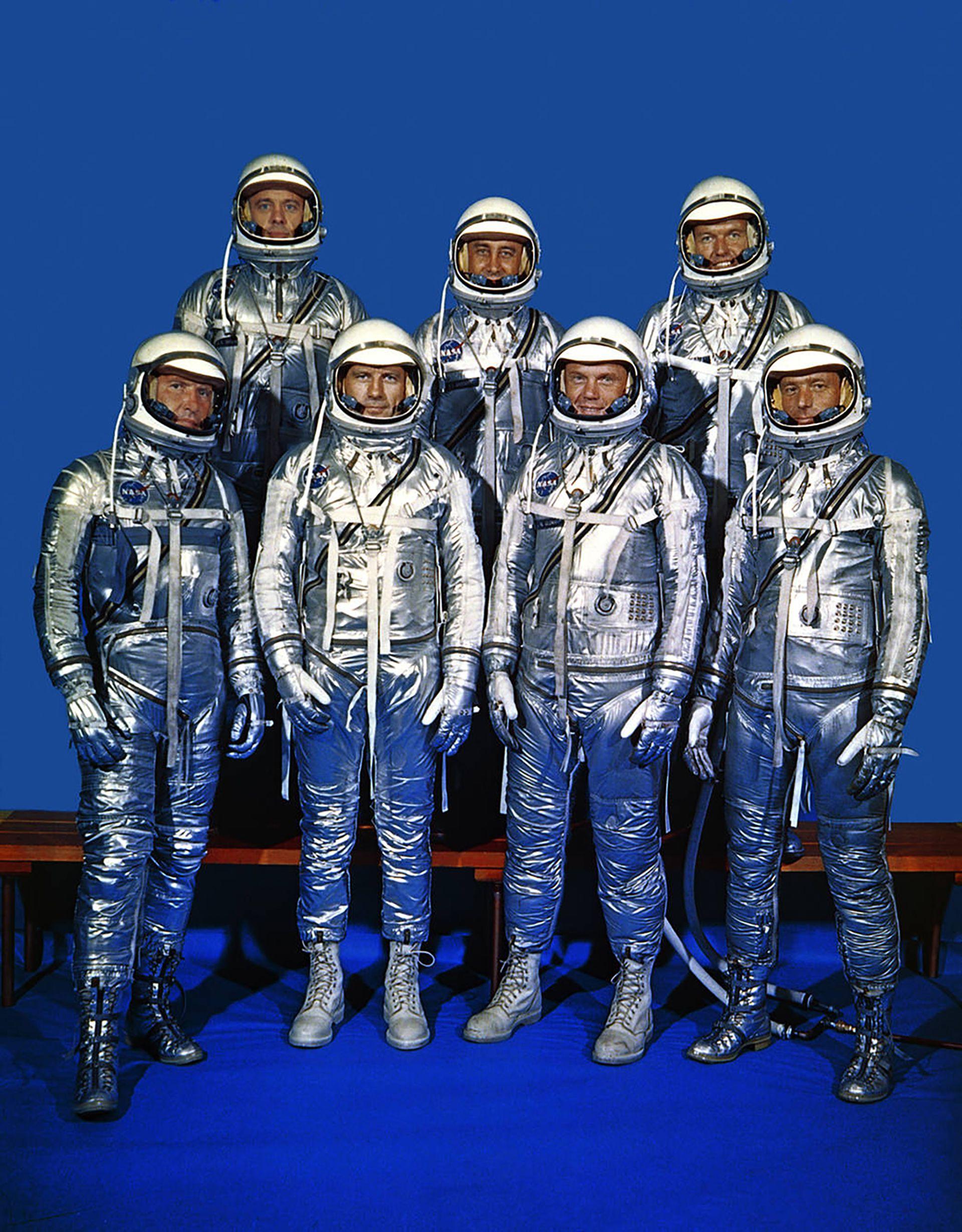 Los Siete de Mercury: Alan Shephard, Gus Grissom y Gordon Cooper, Walter Schirra, Deke Slayton, John Glenn y Scott Carpenter (NASA)