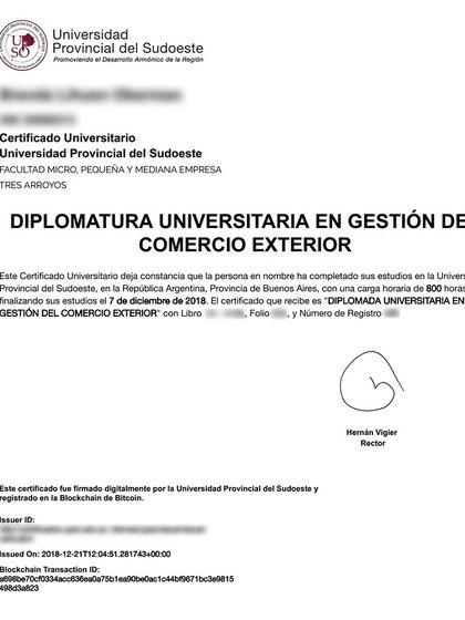 Ejemplo de certificado emitido con blockchain