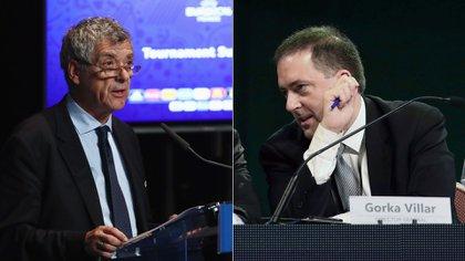 Ángel María Villar, presidente de la Federación de Fútbol española, y su hijo Gorka, ex director general de Conmebol